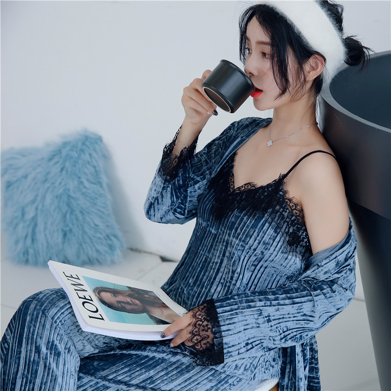 JULY'S SONG Gold Velvet Pajamas Sexy Lace Women Autumn Winter Warm Pajamas Set Women Sleepwear Sleeveless Strap Nightwear Robe
