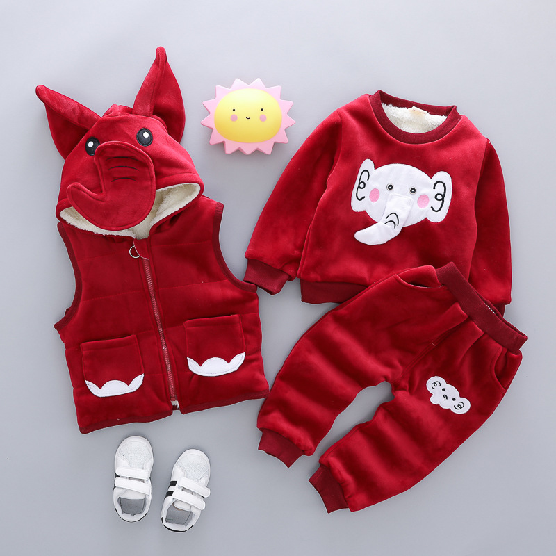 Boys Girls Winter Clothing Sets Thicken Elephant Christmas Vests Sweatshirt Pants 3Pcs Kids Sports Suit Toddler Velvet OutfitsBoys Girls Winter Clothing Sets Thicken Elephant Christmas Vests Sweatshirt Pants 3Pcs Kids Sports Suit Toddler Velvet Outfits