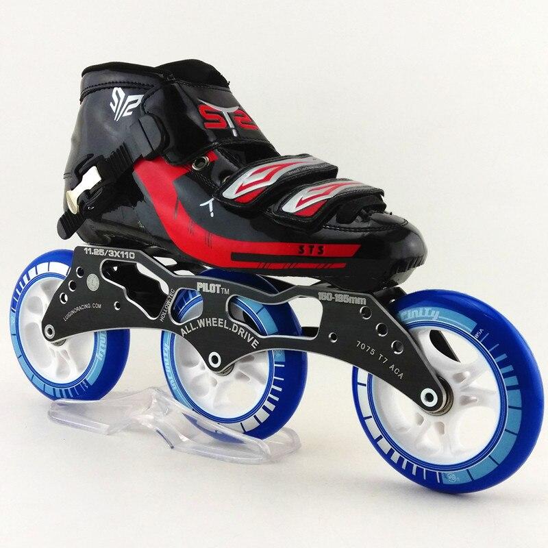Prix pour 3 roues STS main inline chaussures de patinage de vitesse rouge et noir patins à roulettes 3*110mm roues de skate de vitesse