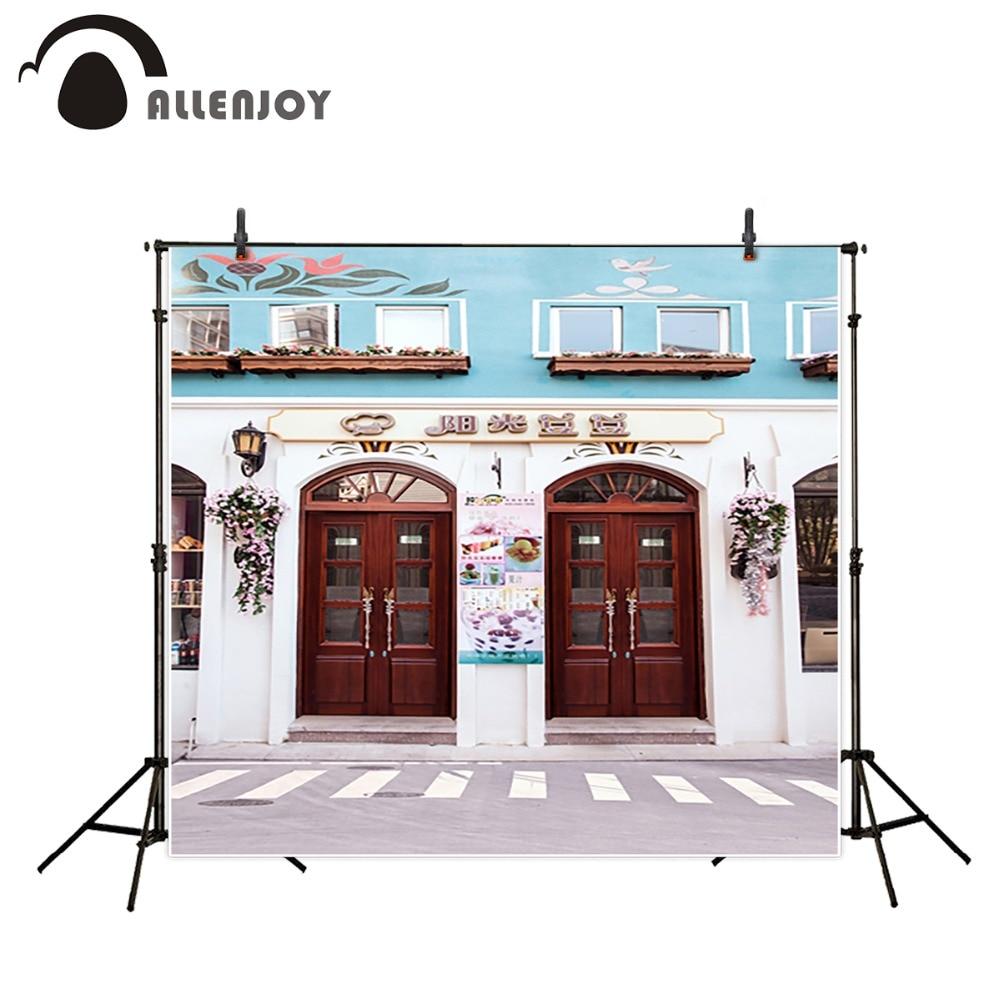 Allenjoy Street shop photographic background Wooden doors road photo studio background backdrop photo studio Custom size  недорого