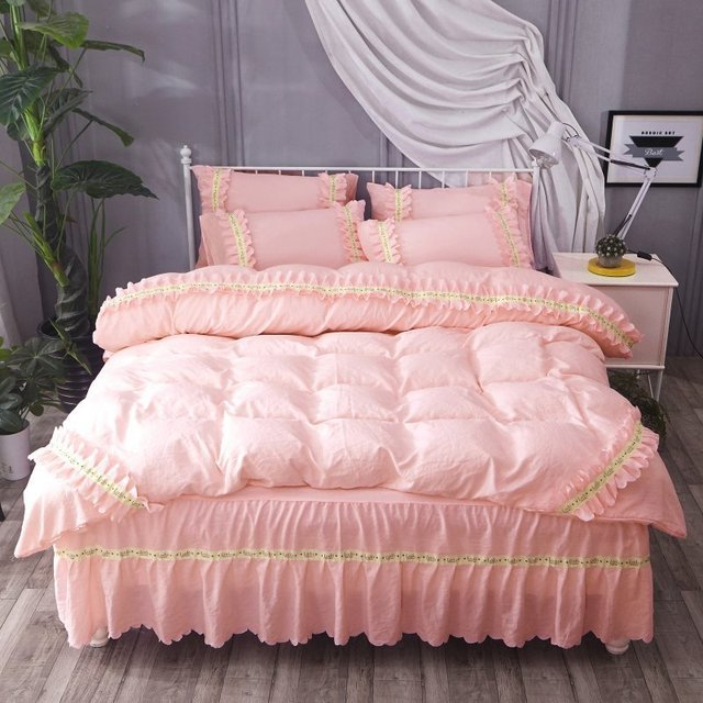 DeMissir Korean Ruffles 3/4 PCS Set Bed Skirt Princess Wash Cotton Bedding Set Bedspread Duvet Cover King Queen Size bedcover