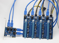 PCI e Express 1X To 4 Port PCIE 16X Multiplier HUB Riser Adapter Card w/1.96ft USB 3.0 Cable Drop Shipping