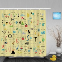 Funny Alphabet Letters Kids Shower Cutains Cute Animal Nursery Children Bathroom Curtains Polyester Waterproof Fabric With