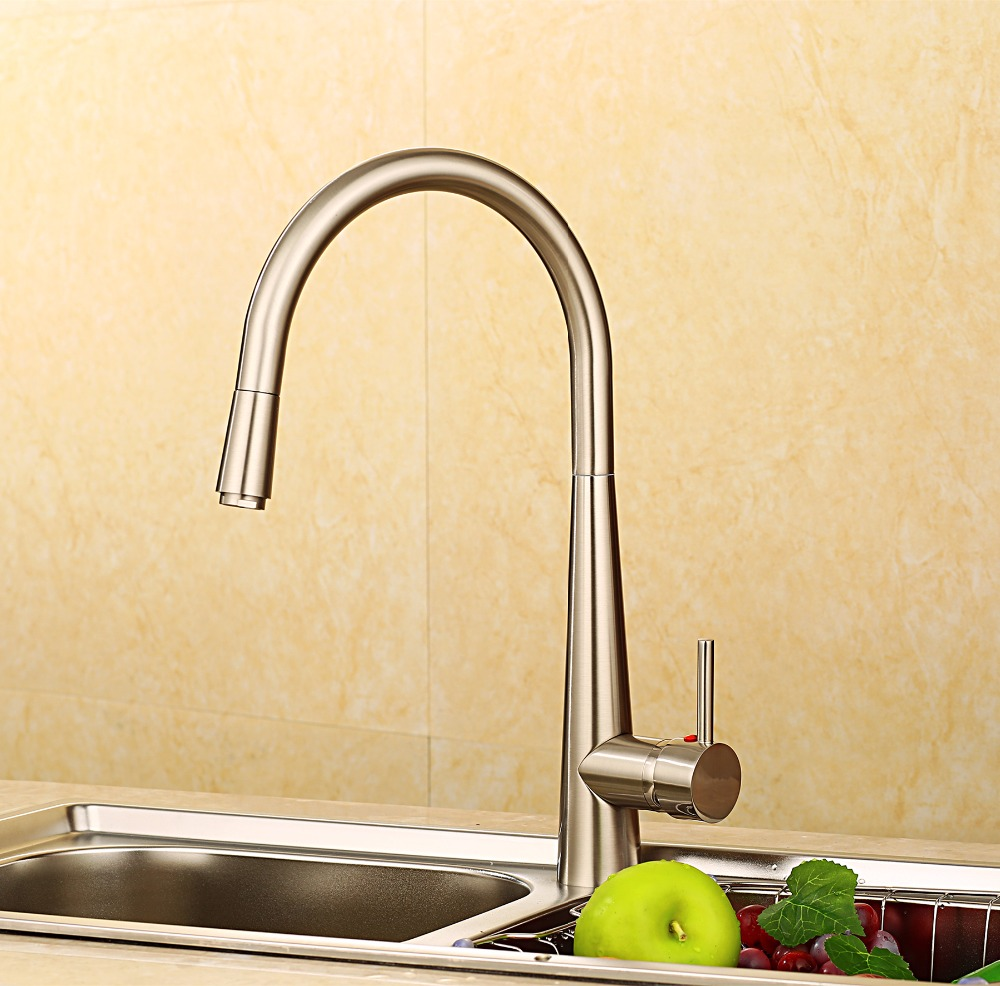 Hot Sale Fashion Creative Pull Out Kitchen Faucet Brass Material Modern Brushed Design Hot And Cold
