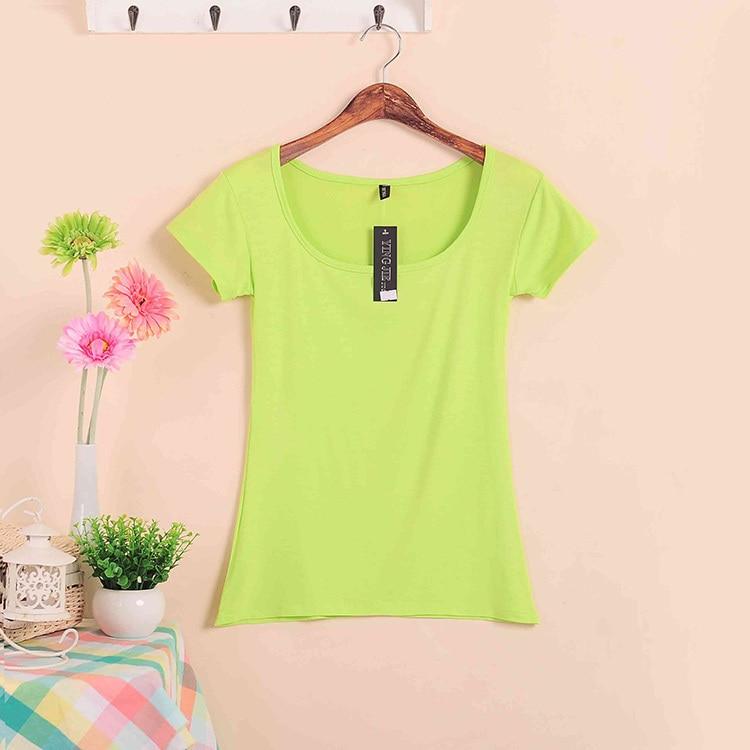 Базовые Стрейчевые топы размера плюс,, Летний стиль, короткий рукав, футболки для женщин, u-образный вырез, хлопок, женские футболки, повседневные футболки - Цвет: W00630 fluorescence