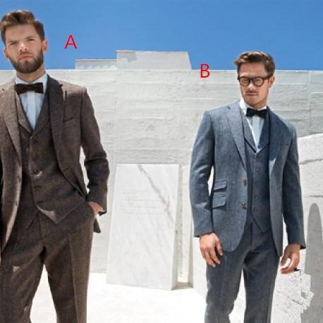 2017 последние конструкции пальто брюки коричневый серый Твид мужской костюм для выпускного TERNO Slim Fit Тощий 3 предмета пользовательские жених...