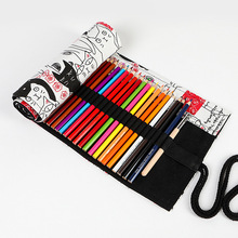 лучшая цена Kawaii Couple Cat Roll School Pencil Case for Girls Boys Penal Pencilcase Canvas Large 12/24/36/48/72 Holes Pen Bag Big Box Kit