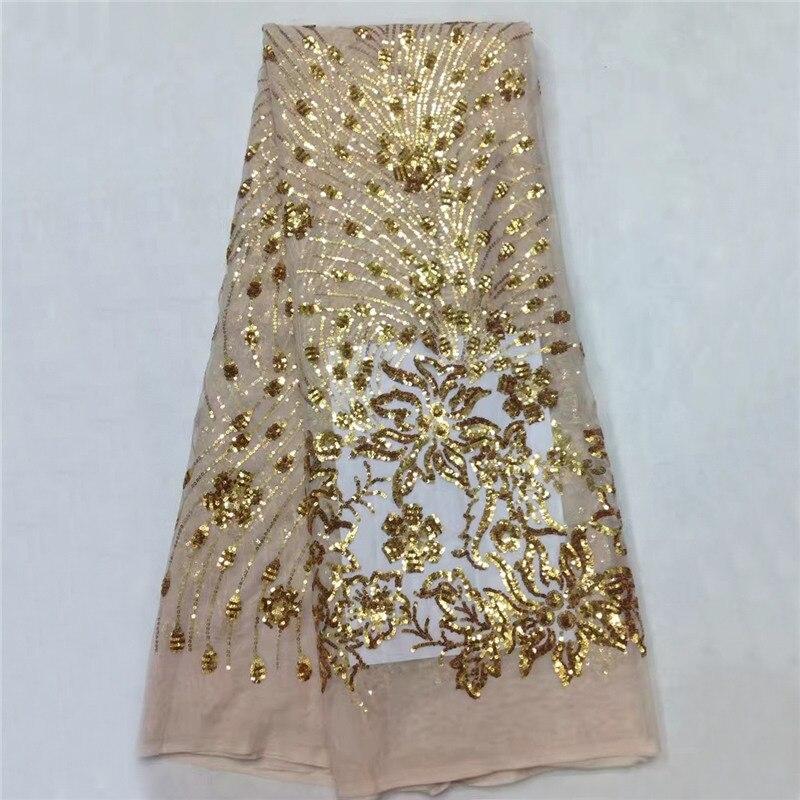 Vysoce kvalitní guipure krajky Tkaniny / módní design africké krajkové tkaniny s flitry / síťovým tylem Krajka pro svatbu SL1011