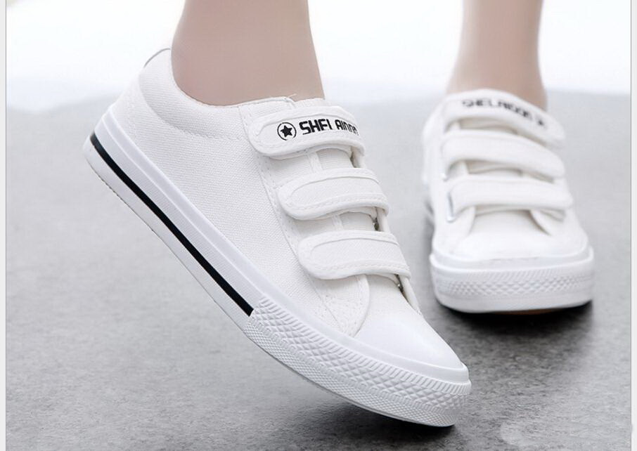 2017 Spring/Autumn low canvas shoes fashion casual women Students with flat canvas shoes Hook&Loop shoes 5 colors e lov women casual walking shoes graffiti aries horoscope canvas shoe low top flat oxford shoes for couples lovers