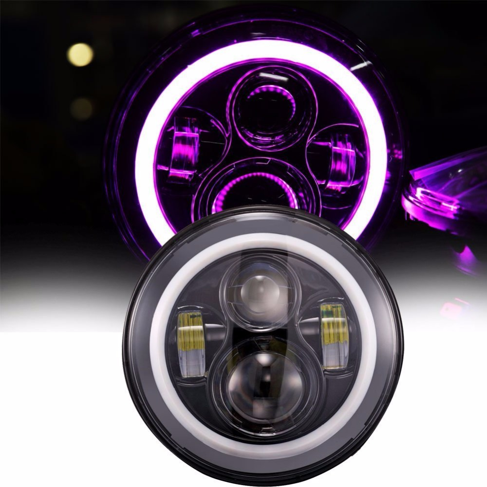 ФОТО  7 inch Round LED Headlights Daymaker with Pink Halo Ring Angle Eye DRL Driving Lamp For Harley Davidson Motorcycle