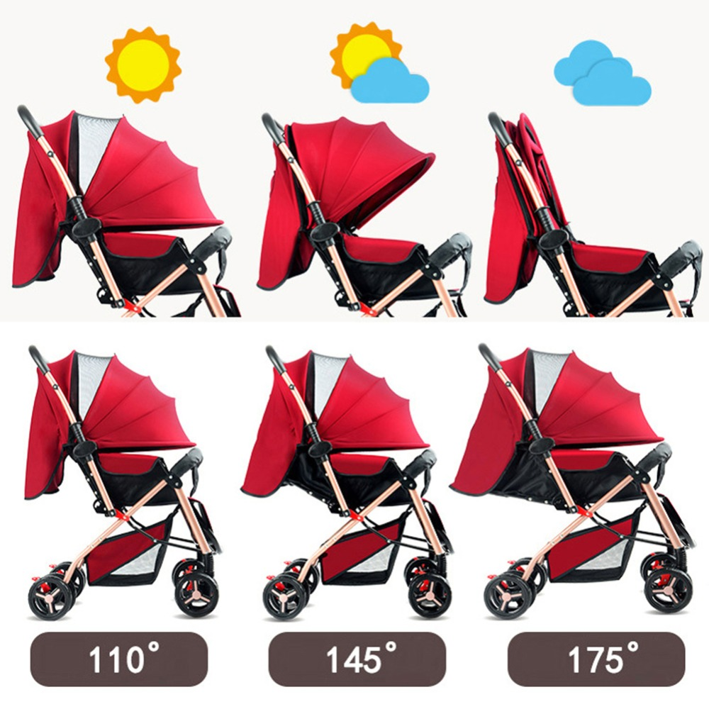 Baby Strollers Can Sit Can Lie Fashion New Ultra Lightweight Folding Travel Portable High Landscape Umbrella Baby Trolley#280148