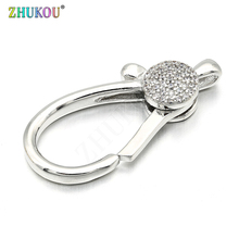 18*36mm Brass Cubic Zirconia Lobster Clasps Hooks for Diy Jewelry Findings Accessories, Mixed Color, Hole: 2.5mm, Model: VK52