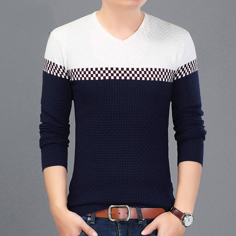 Brand Autumn And Winter Men Sweaters V-neck Long Sleeve Knitwear Men's Pullovers Casual Wear Striped Mens Sweater Male M~3XL