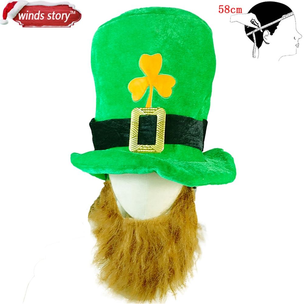 Saint Patrick Costume Leprechaun Top Hat Barba Cappelli cap Accessorio  Fascia Irlanda Clover Partito Verde Irlandese giorno di san patrizio in Saint  Patrick ... 1a24a33448c9