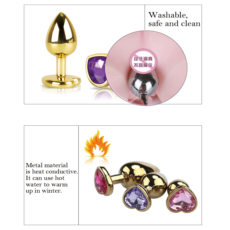 zioxx New Jeweled Anal Plug Big Size Aluminium Alloy Metal Smooth Butt Plug Man Anal Private Goods dropshipping in Anal Plug from Beauty Health