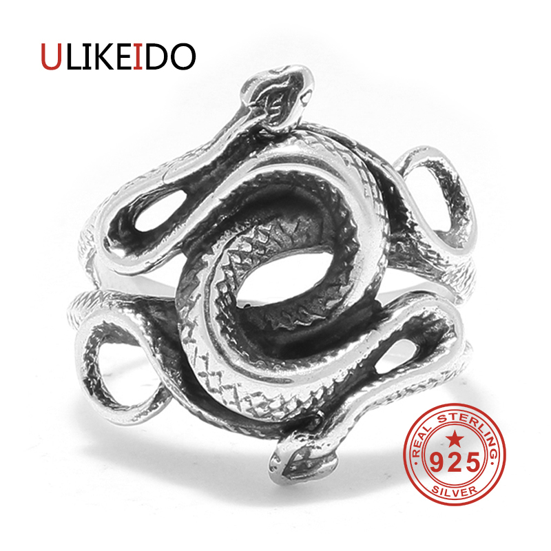 Real 925 Sterling Silver Rings Snake For Men Natural Born Killers Double Head Thai Silver Jewelry Vintage Christmas Gift 2018Real 925 Sterling Silver Rings Snake For Men Natural Born Killers Double Head Thai Silver Jewelry Vintage Christmas Gift 2018