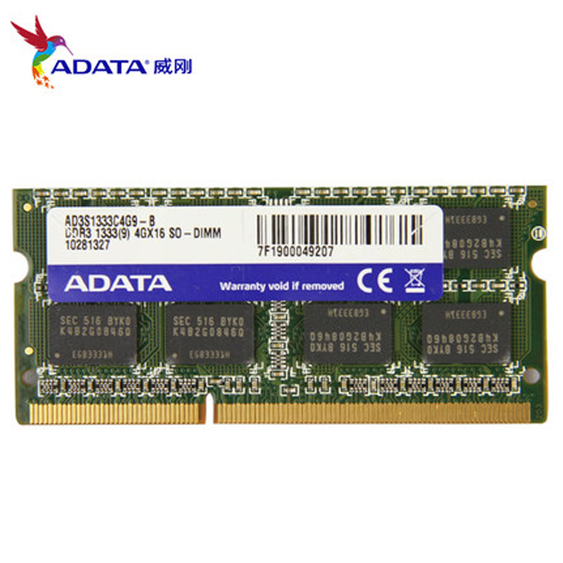 Brand New ADATA 1.5v Laptop Memory Ram DDR3 1333MHz PC3-10600 4GB 2GB 8GB Notebook Memory SODIMM Compatible With DDR 3 1066MHz все цены