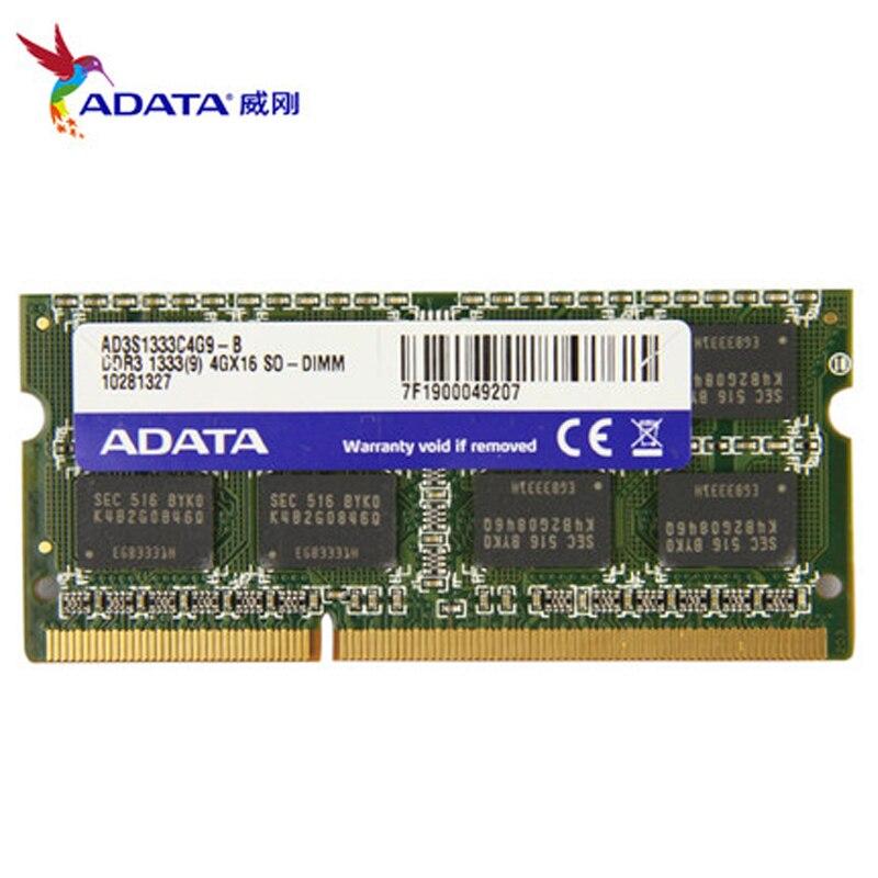 Marke Neue ADATA 1,5 v Laptop-speicher Ram DDR3 1333 MHz PC3-10600 4 GB 2 GB 8 GB SODIMM Notebook-speicher Kompatibel Mit DDR 3 1066 MHz