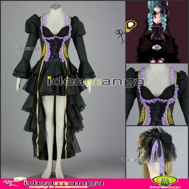 [ideamanga]Manga Amime V+ VOCALOID Gothic style Hatsune Miku girl's Cosplay Costume Female halloween party dress Any Size