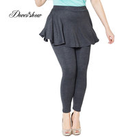 Plus Size Cashmere Imitation Leggings Women Winter Pants Large Pleated Skirt 2014 New Jeans Leggings Above