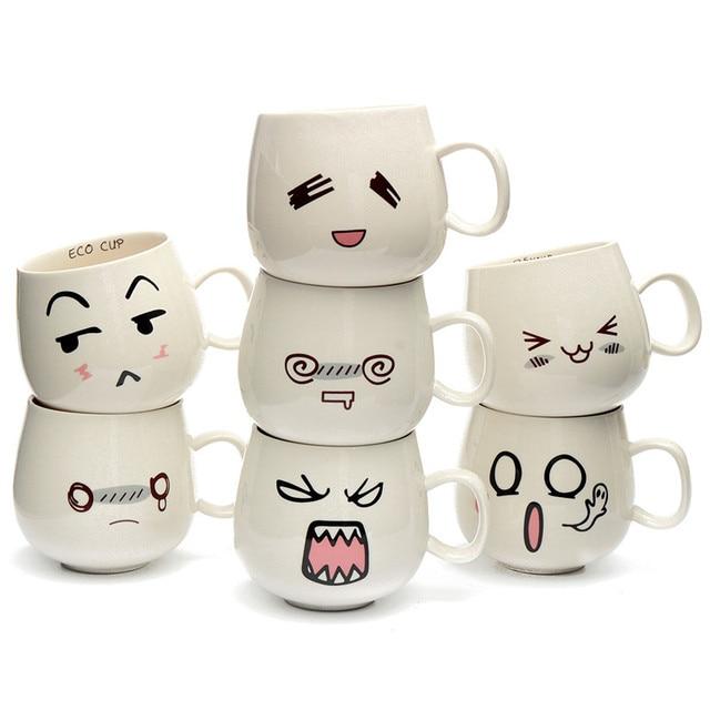 Creative Cute Expression Ceramic Mugs Water Container Cupugs Porcelain Tea Cup Coffee Mug 300ml