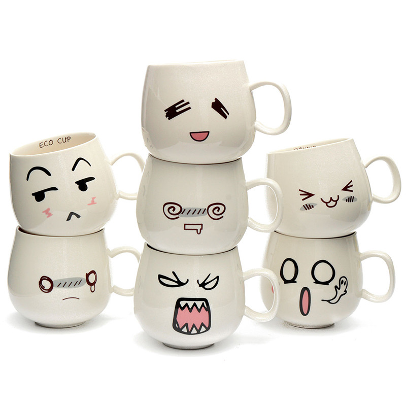 New Arrival Mug Fun Lovely Cute White Pottery Ceramic Cup Emotional Face Mug Tea Coffee Milk