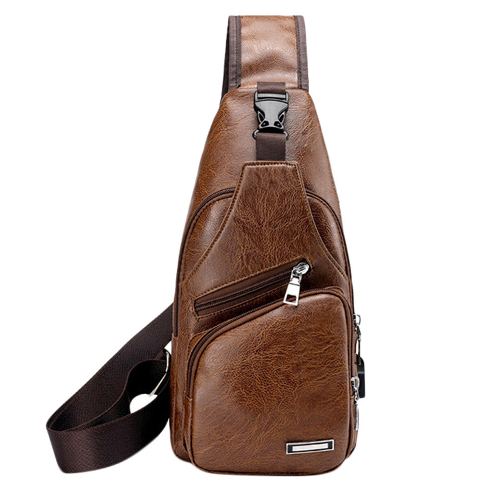 OCARDIAN Men's USB Chest Bag Designer Messenger bag Leather