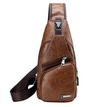 New Men's Bags Men's USB Chest Bag Designer Messenger bag Leather Shoulder Bags Diagonal Package 2019 new Back Pack Travel Hot