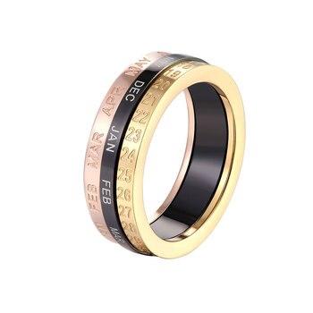 Belo requintado três cores mês e mês e datas podem ser girados anel titânio aço qualidade superior mulher amor anel presente