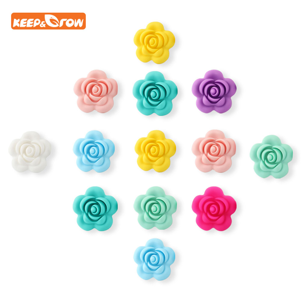 Keep&grow Wholesale 10pcs/lot Rose Silicone Beads Flower Baby Teethers BPA Free Baby Teething Toy Accessories For Pacifier Chain