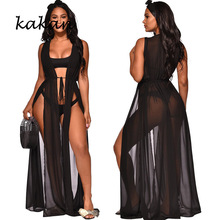 Kakan summer new womens sexy mesh dress black perspective long club party high slit