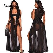 Kakan summer new women's sexy mesh dress black perspective long dress club party high slit dress surplice slit cami club dress