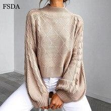 FSDA вязаный зимний свитер с высоким воротом, Осенний однотонный Повседневный офисный Женский пуловер больших размеров, элегантные