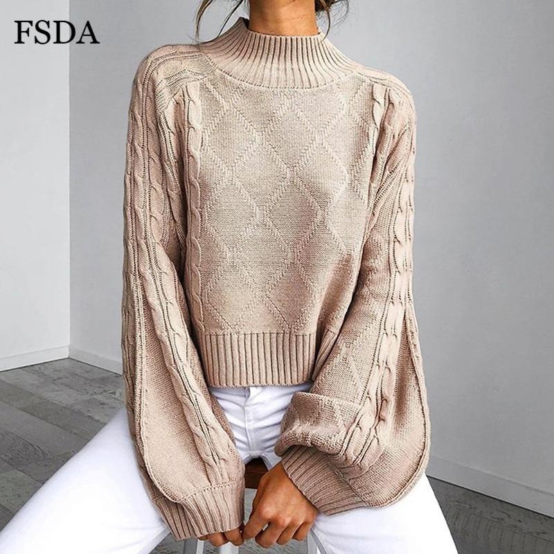 FSDA Turtleneck Knitted Winter Sweater Autumn Lantern Sleeve Solid Casual Office Women Oversize Pullovers Elegant