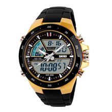Fashion Men Quartz Watch Silicone Band Strap Army Waterproof Double Display Sport Watches Date Clock Wristwatch LXH