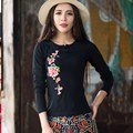 Autumn Chinese Style Round Neck T Shirt Women Slim Waist Embroidered Large Size T-shirt Female Casual Tops Spring
