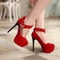 Nova moda sexy de salto alto mulheres bombas com tira no tornozelo sapatos de noite mulher festa de casamento sapatos de noiva sapatos de plataforma dedo do pé redondo