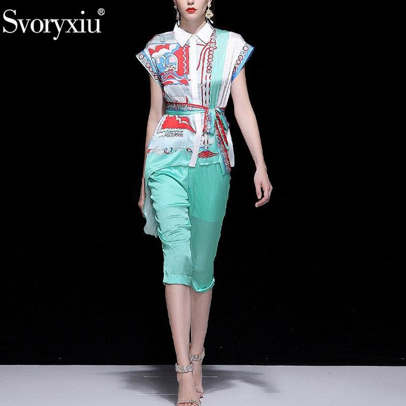 Svoryxiu 디자이너 브랜드 여름 두 조각 세트 패션 반팔 인쇄 비대칭 블라우스 + 3/4 바지 캐주얼 파티 바지 세트-에서여성 세트부터 여성 의류 의  그룹 2