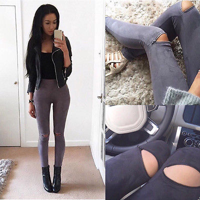 Sexy Women's Skinny Ripped Pants High Waist Stretch Knee Zipper Hollow Out Slim Pencil Trousers