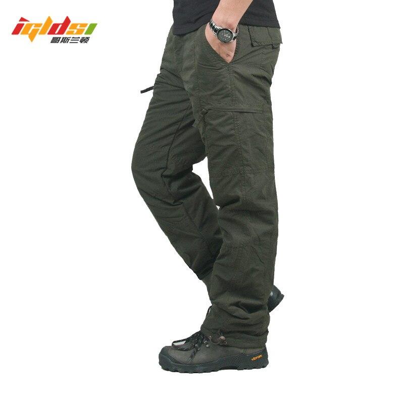 Men Winter Double Layer Men's Camouflage Cargo Pants Baggy Pants For Men Military Tactical Pants Fleece Long Trousers Size M 3XL