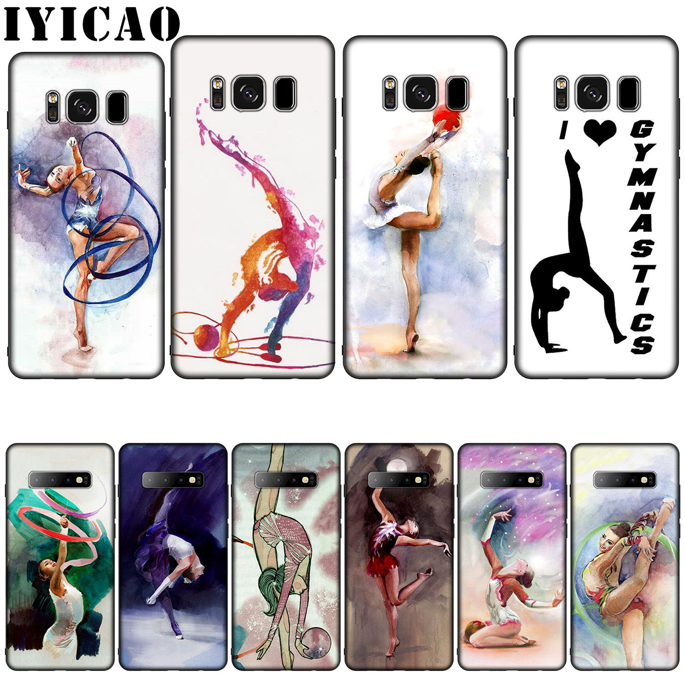 IYICAO Painting Girl Sport <font><b>Gymnastic</b></font> Silicone Soft Phone Case for Samsung Galaxy S10 S9 S8 Plus S6 S7 Edge S10e E Cover image