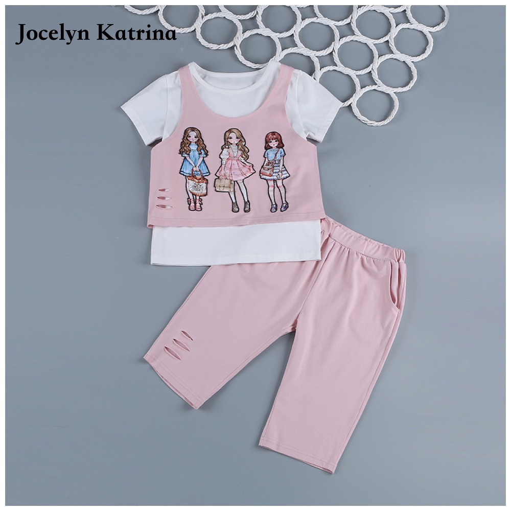 2017 New Summer Kids Clothes Set Girls Clothing Sets Children Cartoon Printing T-shirt+Shorts Suits Baby Girl Clothes Children 2015 summer style girls clothes children clothing set girls clothing sets new family shorts shirt shorts belt ensemble fille