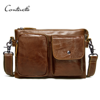 CONTACT'S genuine leather men's shoulder bag small crossbody bags double zipper male bag casual messenger bags man bolsos luxury