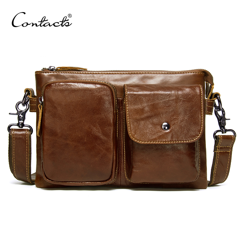 CONTACTS genuine leather mens shoulder bag small crossbody bags double zipper male bag casual messenger bags man bolsos luxuryCONTACTS genuine leather mens shoulder bag small crossbody bags double zipper male bag casual messenger bags man bolsos luxury