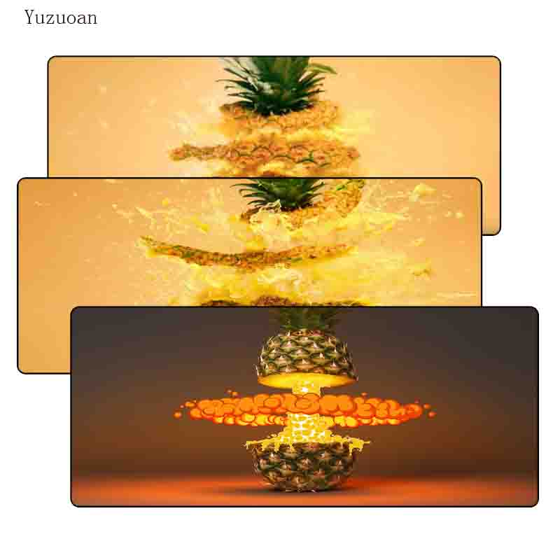 Yuzuoan 900*400*3MM Pineapples Art Print Large Lock Edge Mousepad Computer Desk Mouse pad for Optical Laster LOL DOTA Gamer Pad