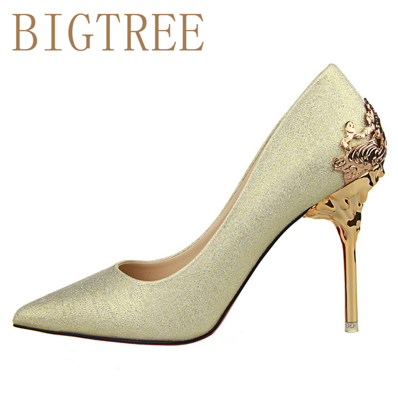 BIGTREE Spring Autumn Scrub women pumps 10 CM Fine high heels metal Hollow Suede Pointed shoes bigtree spring autumn silk women pumps shallow mouth pointed shiny rhinestones 10 5 cm fine high heels shoes