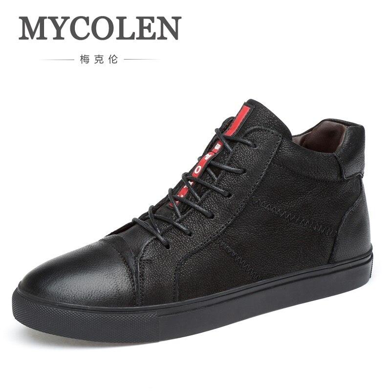 e36d2fa6b MYCOLEN Новые поступления Для мужчин повседневная обувь теплые высокие  холщовые Мужская обувь Туфли без каблуков Высококачественные