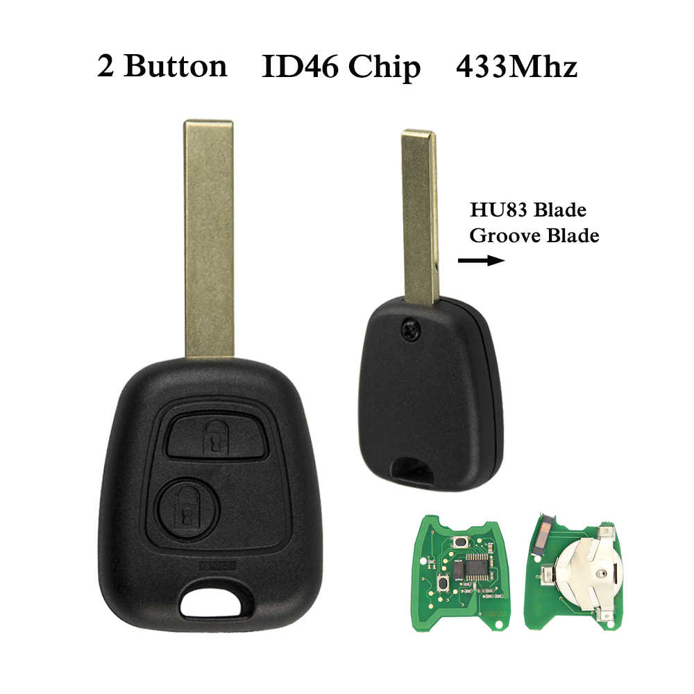 OkeyTech 433 МГц ID46 чип 2 кнопки дистанционного Управление брелок для Citroen C3 C4 C5 Xsara Picasso Berlingo SX9 peugeot 206 207 307 407