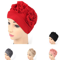 Womens Chemo Hat Solid Color Turban Slouchy Hat With Flower India Cap Muslim Hat Women Headwear