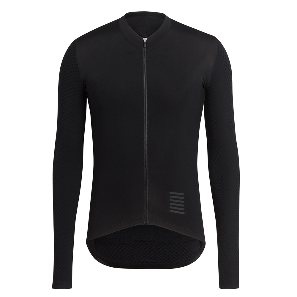 Beat quality PTA Full Black pro team aero long sleeve cycling jerseys race tight fit Autumn cycling gear with Reflective stripe